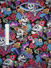 Southwest Fabric - Dia de la Catrina Skulls Black - Alexander Henry YARD