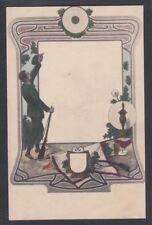 AUSTRIA 1900's ARTISTIC ART NOUVEAU SOLDIER IN DESIGNED FRAME POSTCARD UNUSED