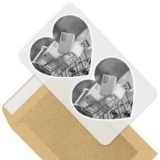 2 x cœur autocollants 7.5 cm-BW-Online Shopping chariot drôle #43307