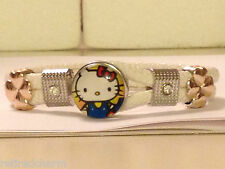❤️HELLO KITTY 😺 BEAUTIFUL SNAP BUTTON BRACELET LEATHER GOLD SILVER Vary Color❤️