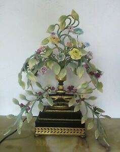 Antique French BOUDOIR Table Lamp Porcelain Flower Tole