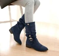 Chic Womens Mid Calf Boots Slouch Wedge Heels Buckle Causal Shoes Pumps US Size