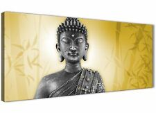 Mustard Yellow and Grey Silver Canvas Art Print of Buddha - 120cm Wide - 1328