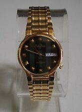 MEN'S  GOLD FINISH FASHION DAY & DATE PHILIP PERSIO CASUAL/DRESSY WEAR WATCH