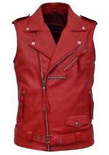 Brando Men's Red Motorcycle Biker 1025 Steam Punk Real Nappa Leather Waistcoat