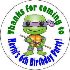 12 Teenage Mutant Ninja turtles stickers Birthday Party 2.5 Inch Personalized