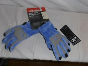 New The North Face Girls' Denali Thermal Etip™ Glove lt blue/gray-Med MSRP $29
