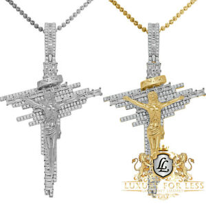 Baguette Real Genuine Sterling Silver Jesus Crucifix Cross Charm Pendent + Chain