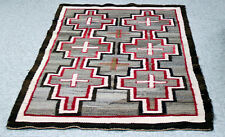 """Antique Navajo Rug w/ Cross Motifs c.1920s 54"""" x 36"""" Handcarded Grey, red, br,wh"""