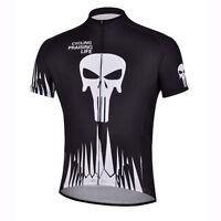 Black Skeleton Bike Jersey Men's Cycling Shirts MTB Cycle Jersey Tops S-5XL