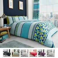 SINGLE SIZE SHAPE BEDDING SET Stripe Duvet Cover Pillow Case Reversible Quilt