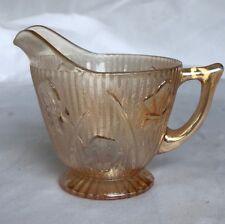 JEANNETTE - IRIS & HERRINGBONE - MARIGOLD CARNIVAL GLASS CREAMER