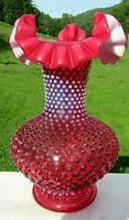 "Fenton Vintage Cranberry Opalescent Hobnail Ruffled Vase - 11""H"