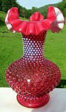 "Fenton Vintage Cranberry Opalescent Hobnail Ruffled Vase - 11""H MINT!"
