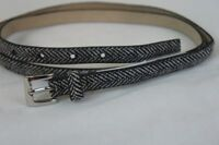Style & Co Belt Sz L Black White Skinny Non Leather Material Belt SC643BLK
