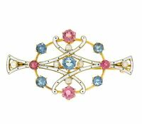 Antique Victorian 15k Gold White Enamel Aquamarine Tourmaline Pearl Brooch Pin