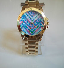 Chunky Gold Finish Geneva Bracelet Designer Look Fashion Women's Watch