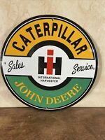 "VINTAGE STYLE ""JOHN DEERE-CATERPILLAR '' GAS & OIL PLATE PORCELAIN SIGN 12 IN"