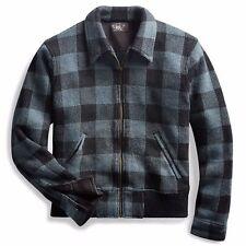 3929ed0a100 RRL Ralph Lauren Mens Indigo Black Plaid Flannel Wool Jacket Coat M Medium
