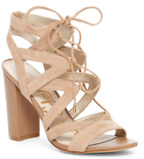 713e8ac156a12 Sam Edelman Yardley Suede Lace-Up Sandal - Camel Suede - Size 10 Block Heel
