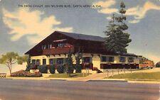 Linen Postcard The Swiss Chalet in Santa Monica, California~112088