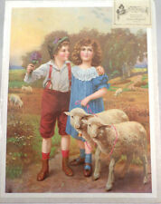 """Victorian Lithograph Print Picture """"Best Friends"""" Children Boy And Girl 12X16"""