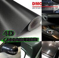 10x152cm Black Gloss 4D Carbon Fibre Adhesive Vinyl Wrap 3M Bubble Free Sticker