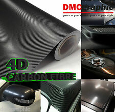 2xA4 Black Gloss 4D Carbon Fibre Adhesive Vinyl Wrap 3M Air Bubble Free Sticker