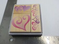 Hero Arts LL856 Heart Fancy Notes Wood Mounted Rubber Stamps EUC A8286