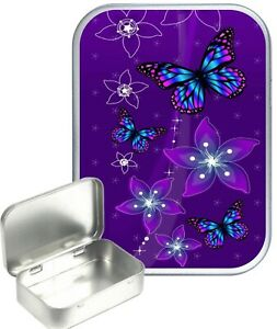 Purple Butterflies Small Silver Hinged Gift Tin, 30ml Hinged Tobacco Tin, Pill