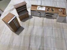 Concord Dollhouse Kitchen Lot: Hutch, Sink, Fridge, Stove Etc.