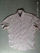 GENTS FIRETRAP ORANGE STRIPED SHIRT SIZE MEDIUM