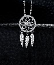 Dreamcatcher sterling silver pendant necklace