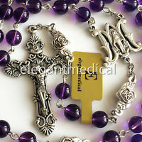 RARE AMETHYST ROSE BEADS MARY ROSARY ITALY CROSS CRUCIFIX CATHOLIC NECKLACE BOX