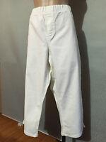 BNWT Womens Sz 24 Autograph White Stretch Denim Elastic Waist Crop Pants RRP $60