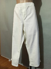 Womens Sz 26 Autograph White Stretch Denim Elastic Waist Crop Pants