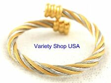 Twisted Wire Magnetic Alloy Multi-Color Ring Gold & Silver R011GS