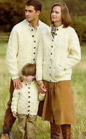 KNITTING PATTERNS MENS WOMENS CHILDREN ARAN CABLE CARDIGANS SWEATERS JACKET V010