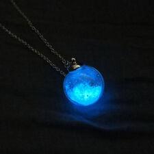Women Necklace Dried Flower Dandelion Glass Ball Glow In The Dark Pendants Chain