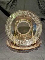 VINTAGE PINK GLASS KIG MALAYSIA TRELLIS FLEUR DE LIS BOWLS Set Of 2