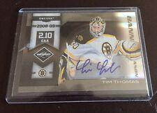 2010 Panini Limited- Tim Thomas - Auto Autograph #5/25 Card # 20 Boston Bruins