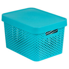 Caja de almacenamiento con tapa Quebrado Infinito 36 x 27 x 22cm turquesa CURVA