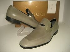 New GUCCI Men US 10.5 UK 9.5 Moss Green Leather Logo Silver Plate Loafers Shoes