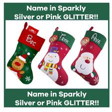 PERSONALISED GLITTER Santa Snowman Christmas Xmas Stocking Sack Disney Children