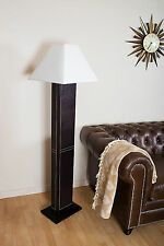 Floor Lamp Wooden Leather Floor Light Hall White Shade Modern Vintage Contempory