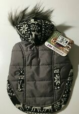 Dog Winter Rain Hoodie Jacket Puffer Faux Fur Trim Gray Fair Isle Coat Size S
