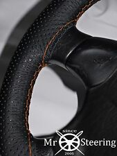 FOR MORRIS OXFORD MO PERFORATED LEATHER STEERING WHEEL COVER ORANGE DOUBLE STICH