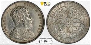 1907 Straits Settlements, Edward VII Dollar. PRID-5 ~~PCGS AU DETAILS