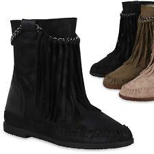 Damen Stiefeletten Mokassin Boots Wildleder-Optik Stiefel Fransen 824724 Trendy