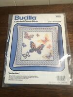 """NEW Vintage BUCILLA counted Cross Stitch Kit BUTTERFLIES #49823 14"""" Square"""
